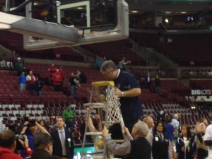 Coach Gray cutting the net
