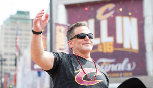 CLEVELAND, OH - JUNE 22: Majority owner of the Cleveland Cavaliers Dan Gilbert waves to the fans during the Cleveland Cavaliers 2016 championship victory parade and rally on June 22, 2016 in Cleveland, Ohio. (Photo by Jason Miller/Getty Images)
